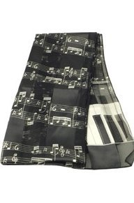 View larger image of Music Staff and Keyboard Scarf - Black, 13x60