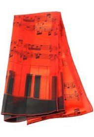 View larger image of Music Staff and Keyboard Scarf - Red, 13x60