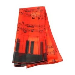 Music Staff and Keyboard Scarf - Red, 13x60