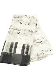 View larger image of Music Staff and Keyboard Scarf - White, 13x60