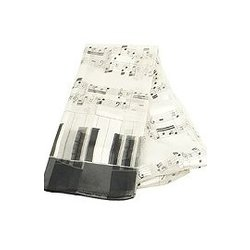 Music Staff and Keyboard Scarf - White, 13x60