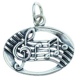 Music Staff Sterling Silver Charm