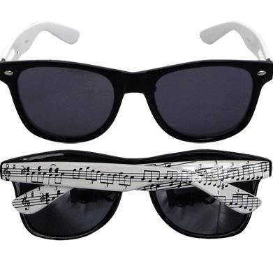 View larger image of Music Staff Sunglasses with Black Frame and White Arms