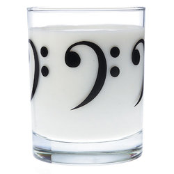 Music Themed Glass Tumbler - Bass Clef