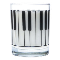 Music Themed Glass Tumbler - Large Keyboard