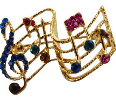 View larger image of Musical Staff Brooch - Gold with Multi Stones