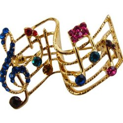 Musical Staff Brooch - Gold with Multi Stones