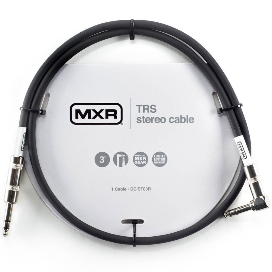 View larger image of MXR TRS Stereo Cable - Straight to Right-Angle, 3'