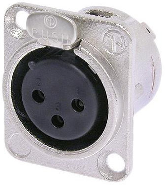 View larger image of Neutrik NC3FD-L-1 XLR Chassis Connector - 3-Pole Female, Nickel, Silver Contacts
