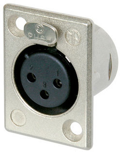 View larger image of Neutrik NC3FP-1 XLR Chassis Connector - 3-Pole Female, Nickel, Silver Contacts