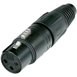 Neutrik NC3FX-B XLR Cable Connector - 3-Pole Female, Metal, Gold Contacts