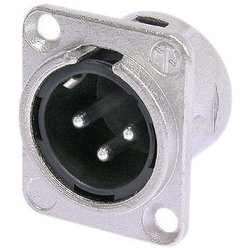 Neutrik NC3MD-L-1 XLR Chassis Connector - 3-Pole Male, Nickel, Silver Contacts