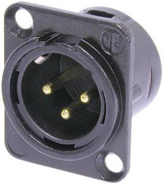 View larger image of Neutrik NC3MD-L-B-1 XLR Chassis Connector - 3-Pole Male, Metal, Gold Contacts