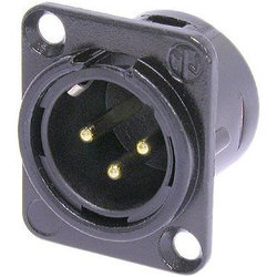 Neutrik NC3MD-L-B-1 XLR Chassis Connector - 3-Pole Male, Metal, Gold Contacts
