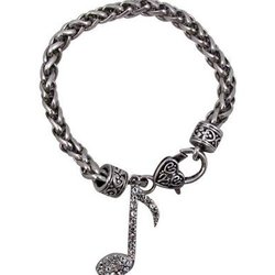 Note Bracelet with Crystals - Silver