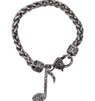 View larger image of Note Bracelet with Crystals - Silver
