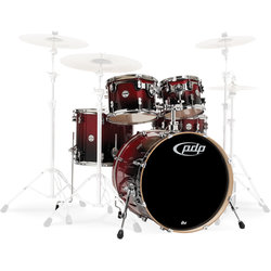PDP Concept Birch 5-Piece Shell Pack - 22/14SD/16FT/12/10, Cherry to Black Fade