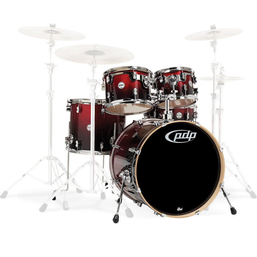 View larger image of PDP Concept Maple 5-Piece Shell Pack - 22/14SD/16FT/12/10, Red to Black Fade