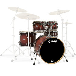 PDP Concept Maple 5-Piece Shell Pack - 22/14SD/16FT/12/10, Satin Tobacco Burst