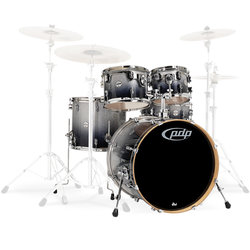 PDP Concept Maple 5-Piece Shell Pack - 22/14SD/16FT/12/10, Silver to Black Fade