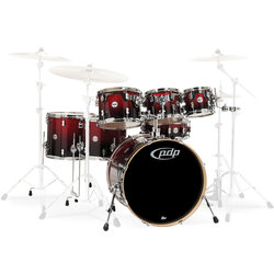 PDP Concept Maple 7-Piece Shell Pack - 22/14SD/16FT/14FT/12/10/8, Red to Black Fade