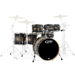 PDP Concept Maple 7-Piece Shell Pack - 22/14SD/16FT/14FT/12/10/8, Satin Charcoal Burst