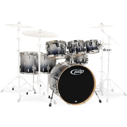 PDP Concept Maple 7-Piece Shell Pack - 22/14SD/16FT/14FT/12/10/8, Silver to Black Fade