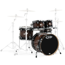 PDP Concept Maple Exotic 5-Piece Shell Pack - 22/14SD/16FT/12/10, Walnut to Charcoal Burst