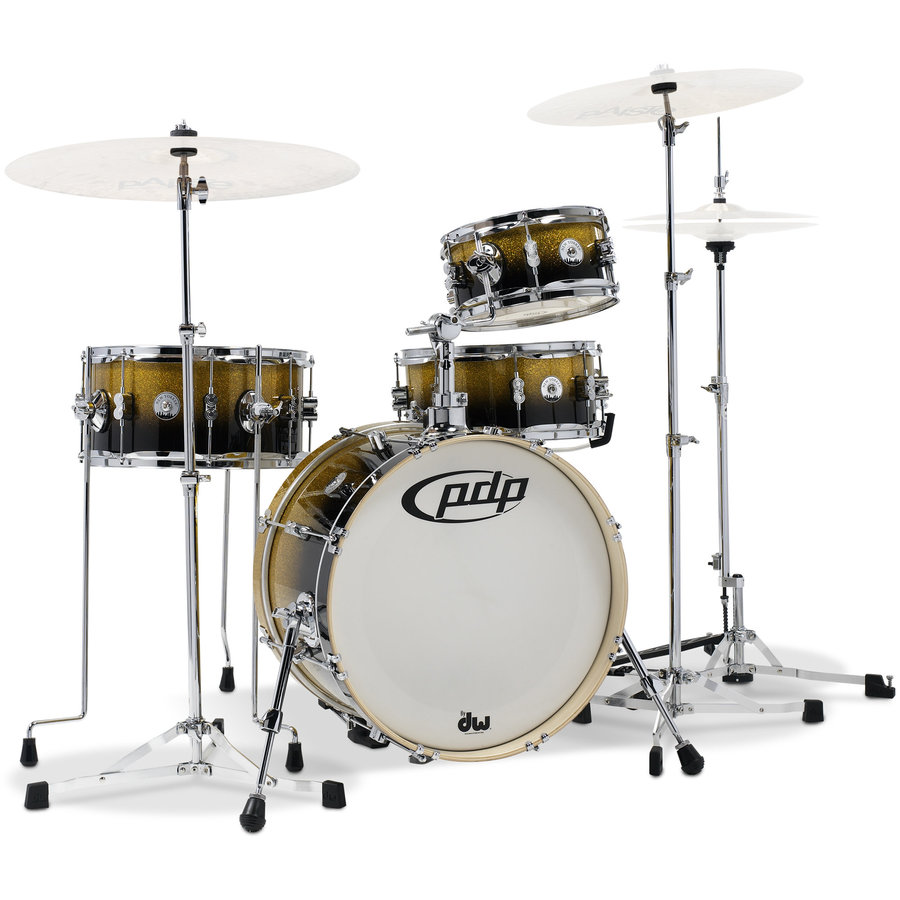 View larger image of PDP Daru Jones New Yorker 4-Piece Drum Kit - 18/13SD/14FT/10, Hardware, Gold to Black Sparkle Fade