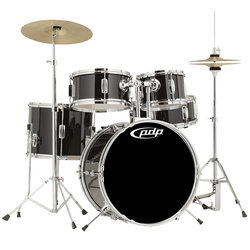 PDP Player Series 5-Piece Drum Set - 18/12SD/12FT/10/8, Hardware, Cymbals, Throne, Piano Black