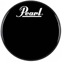 Pearl Black Beat Bass Drum Head with Logo - 18