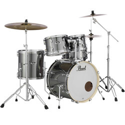Pearl Export EXX 5-Piece Drum Kit - 20/14SD/14FT/12/10, Hardware, Cymbals, Throne, Smokey Chrome