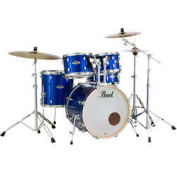 Pearl Export EXX 5-Piece Drum Set - 22/14SD/14FT/12/10, Hardware, Cymbals, Throne, High Voltage Blue