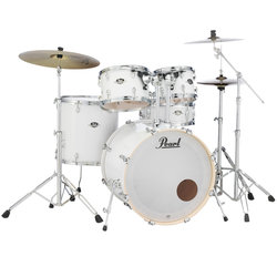 Pearl Export EXX 5-Piece Drum Set - 22/14SD/14FT/12/10, Hardware, Cymbals, Throne, Pure White