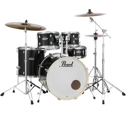 Pearl Export EXX 5-Piece Drum Kit - 22/14SD/16FT/12/10, Hardware, Cymbals, Throne, Jet Black