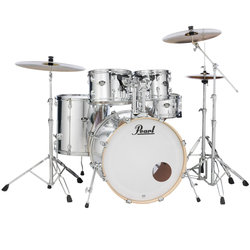 Pearl Export EXX 5-Piece Drum Set - 22/14SD/16FT/12/10, Hardware, Cymbals, Throne, Mirror Chrome