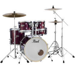 Pearl Export EXX 5-Piece Drum Kit - 22/14SD/16FT/13/12, Hardware, Cymbals, Throne, Burgundy