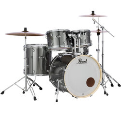 Pearl Export EXX 5-Piece Drum Kit - 22/14SD/16FT/13/12, Hardware, Cymbals, Throne, Smokey Chrome