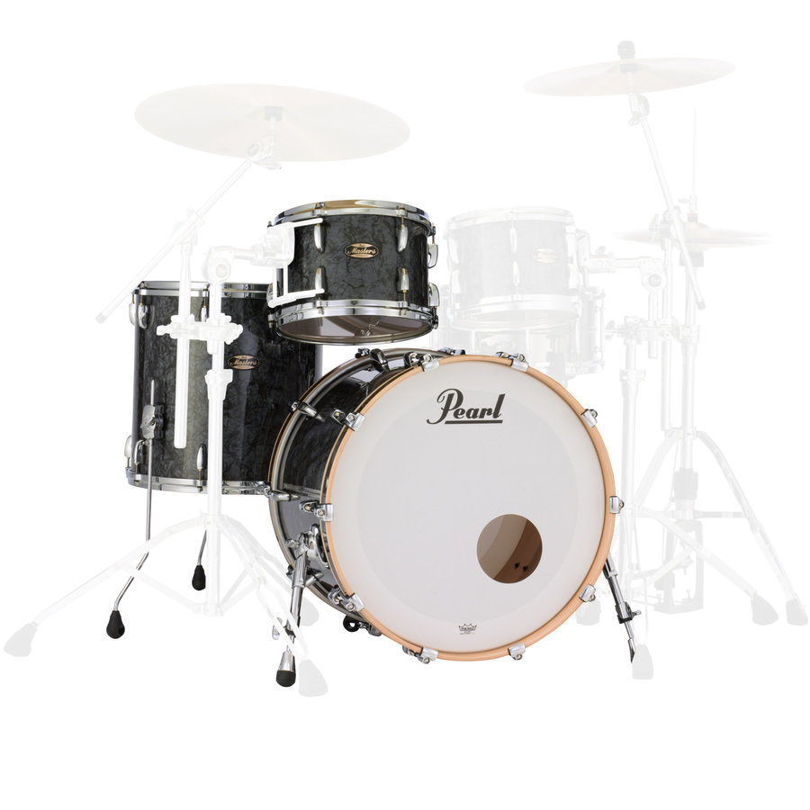 View larger image of Pearl Masters Maple Gum 3-Piece Shell Pack - 22/16FT/12, Black Diamond Pearl