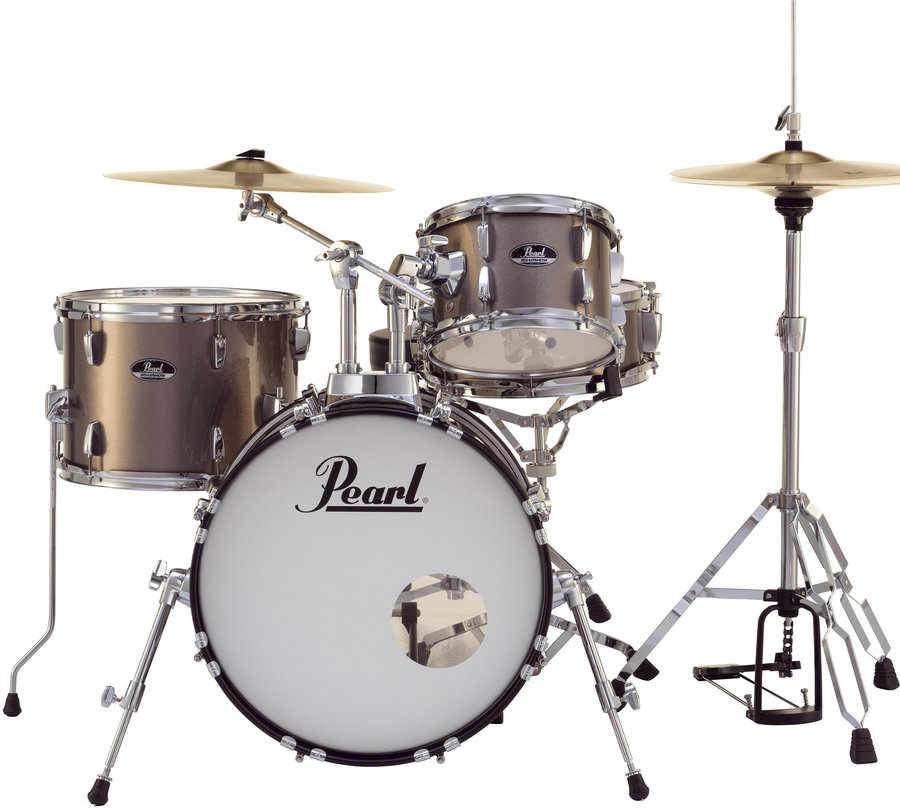 View larger image of Pearl Roadshow 4-Piece Drum Set - 18/13SD/14FT/10, Hardware, Cymbals, Throne, Bronze Metallic