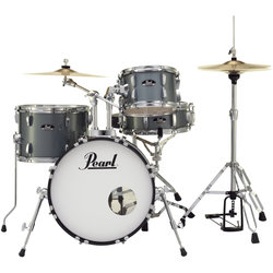 Pearl Roadshow 4-Piece Drum Set - 18/13SD/14FT/10, Hardware, Cymbals, Throne, Charcoal Metallic
