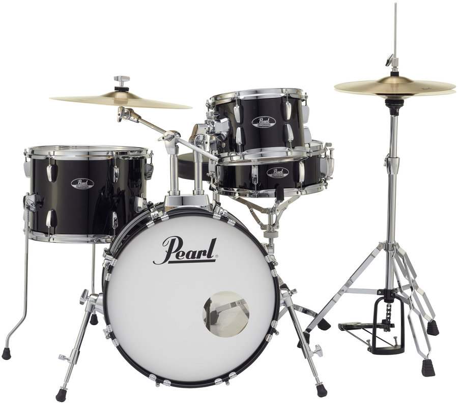 View larger image of Pearl Roadshow 4-Piece Drum Set - 18/13SD/14FT/10, Hardware, Cymbals, Throne, Jet Black