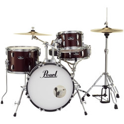 Pearl Roadshow 4-Piece Drum Set - 18/13SD/14FT/10, Hardware, Cymbals, Throne, Red Wine