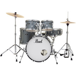 Pearl Roadshow 5-Piece Drum Set - 20/14SD/14FT/12/10, Hardware, Cymbals, Throne, Charcoal Metallic