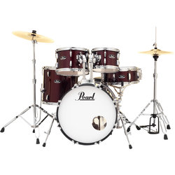 Pearl Roadshow 5-Piece Drum Set - 20/14SD/14FT/12/10, Hardware, Cymbals, Throne, Red Wine