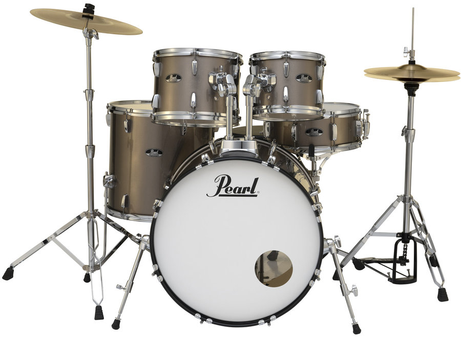 View larger image of Pearl Roadshow 5-Piece Drum Set - 22/14SD/16FT/12/10, Hardware, Cymbals, Throne, Bronze Metallic