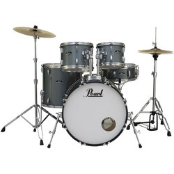 Pearl Roadshow 5-Piece Drum Set - 22/14SD/16FT/12/10, Hardware, Cymbals, Throne, Charcoal Metallic