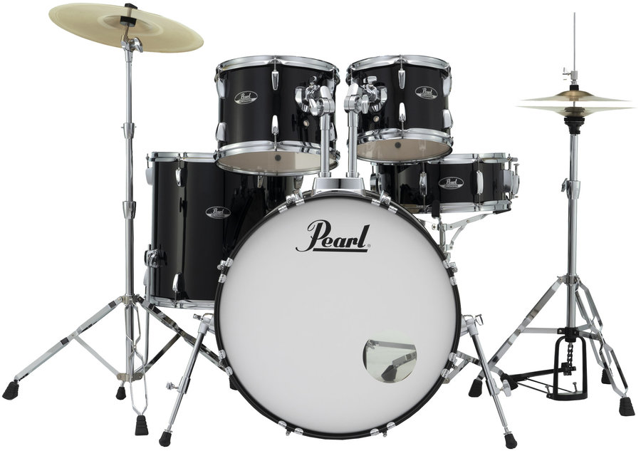 View larger image of Pearl Roadshow 5-Piece Drum Set - 22/14SD/16FT/12/10, Hardware, Cymbals, Throne, Jet Black