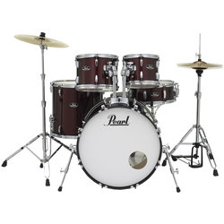 Pearl Roadshow 5-Piece Drum Set - 22/14SD/16FT/12/10, Hardware, Cymbals, Throne, Wine Red