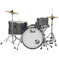 Pearl Roadshow 5-Piece Drum Set - 22/14SD/16FT/14FT/12, Hardware, Cymbals, Throne, Charcoal Metallic